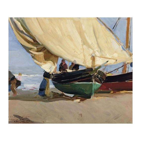 cuadros de marinas - Cuadro -Pescadores y barcas varadas, Valencia, 1910-
