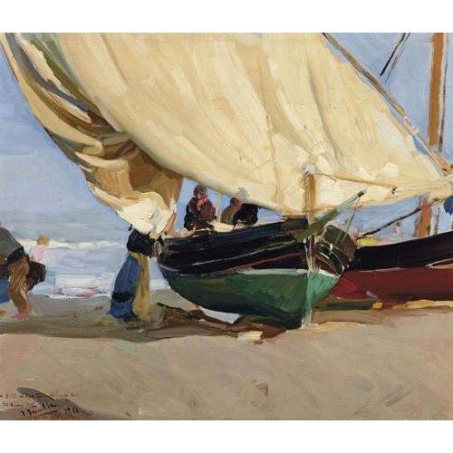 Cuadro -Pescadores y barcas varadas, Valencia, 1910-
