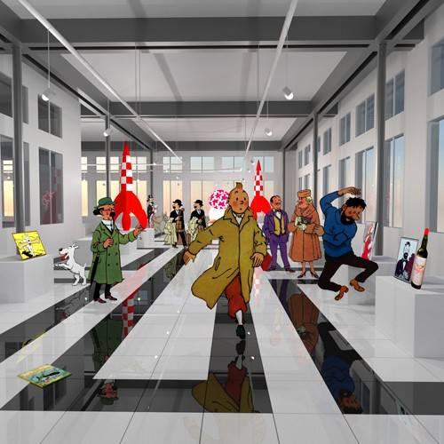 cuadros-modernos - Cuadro -Noche en el museo de tintin- - Aguirre Vila-Coro, Juan