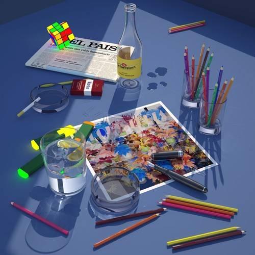 cuadros-modernos - Cuadro -Mi escritorio a la ventana- - Aguirre Vila-Coro, Juan