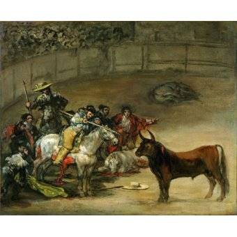 cuadros de fauna - Cuadro -Corrida de toros, Suerte de Varas (toros)- - Goya y Lucientes, Francisco de