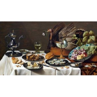 - Cuadro -Still Life with Turkey Pie, 1627- - Claesz, Pieter