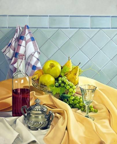 cuadros-de-bodegones - Cuadro -Bodegon con frutas- - Zamarbide, Federico Garcia