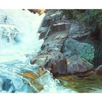 - Cuadro -Paisaje con cascada- - Zamarbide, Federico Garcia