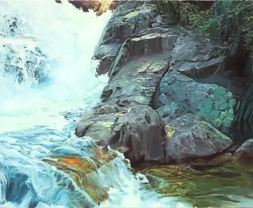 cuadros-de-paisajes - Cuadro -Paisaje con cascada- - Zamarbide, Federico Garcia