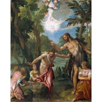 cuadros religiosos - Cuadro -El Bautismo De Cristo- - Veronese, Paolo