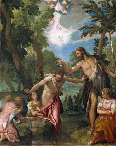 cuadros-religiosos - Cuadro -El Bautismo De Cristo- - Veronese, Paolo