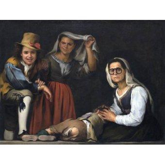 - Cuadro -Cuatro figuras en un escalon, 1655- - Murillo, Bartolome Esteban