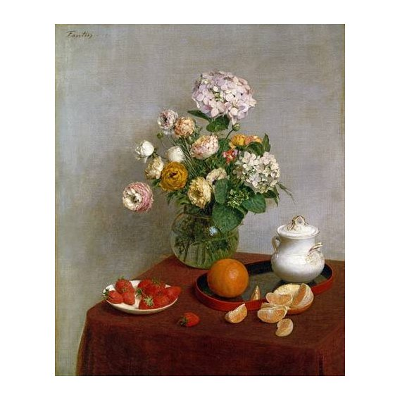 cuadros de bodegones - Cuadro -Flowers_and_Fruit, 1866-