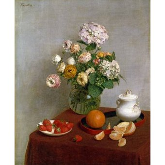 - Cuadro -Flowers_and_Fruit, 1866- - Fantin Latour, Henri