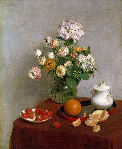 cuadros-de-bodegones - Cuadro -Flowers_and_Fruit, 1866- - Fantin Latour, Henri