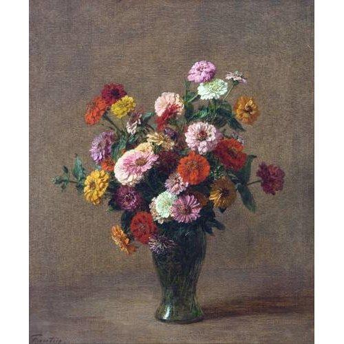 cuadros de flores - Cuadro -Zinnias-