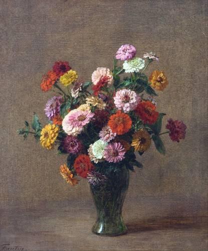 cuadros-de-flores - Cuadro -Zinnias- - Fantin Latour, Henri
