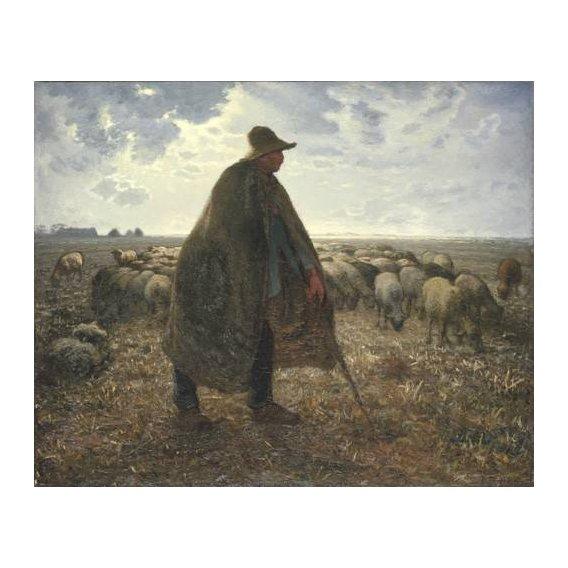 cuadros de retrato - Cuadro -Pastor cuidando su rebaño-
