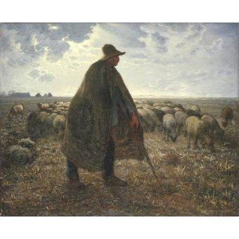 cuadros de retrato - Cuadro -Pastor cuidando su rebaño- - Millet, Jean François