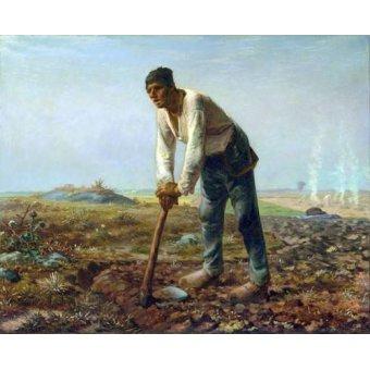 cuadros de retrato - Cuadro -Hombre con una azada, 1860- - Millet, Jean François