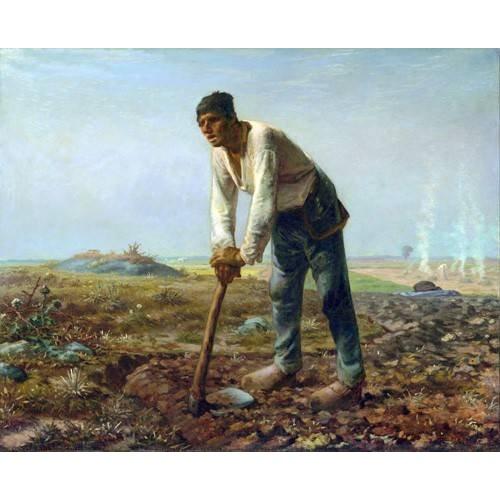 cuadros de retrato - Cuadro -Hombre con una azada, 1860-
