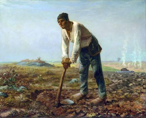 cuadros-de-retrato - Cuadro -Hombre con una azada, 1860- - Millet, Jean François
