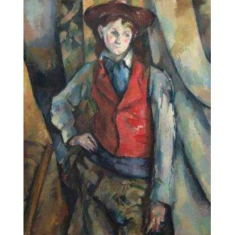 cuadros de retrato - Cuadro -Muchacho con chaleco rojo- - Cezanne, Paul