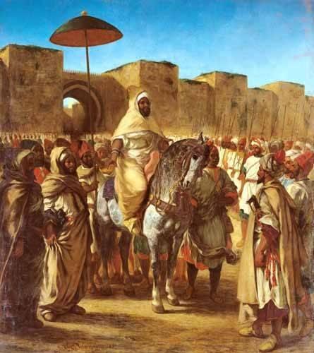cuadros-de-retrato - Cuadro -The Sultan Of Morocco- - Delacroix, Eugene