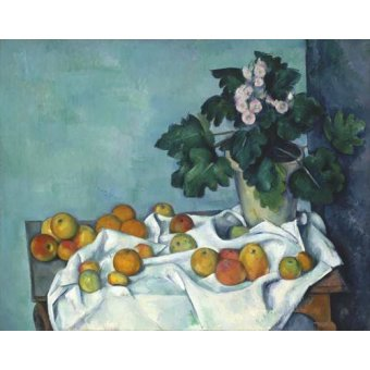 cuadros de bodegones - Cuadro -Still Life with Apples and a Pot of Primroses, 1890- - Cezanne, Paul