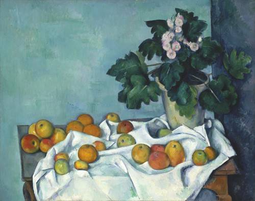 cuadros-de-bodegones - Cuadro -Still Life with Apples and a Pot of Primroses, 1890- - Cezanne, Paul