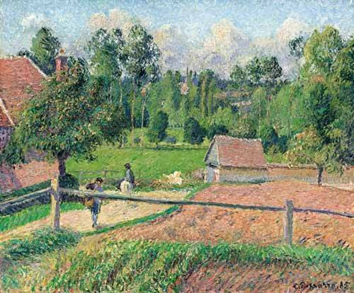 cuadros-de-paisajes - Cuadro -Vue de la fenêtre de l'artiste (Eragny)- - Pissarro, Camille