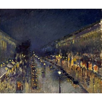 - Cuadro -The Boulevard Montmartre at Night, 1897- - Pissarro, Camille