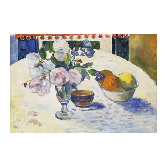 cuadros de bodegones - Cuadro -Flowers and a Bowl of Fruit on a Table, 1894-