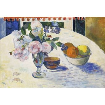 - Cuadro -Flowers and a Bowl of Fruit on a Table, 1894- - Gauguin, Paul