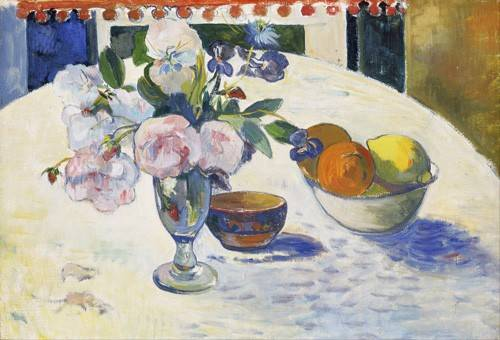 cuadros-de-bodegones - Cuadro -Flowers and a Bowl of Fruit on a Table, 1894- - Gauguin, Paul