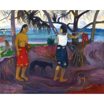 - Cuadro -I Raro Te Oviri (Under the Pandanus)- - Gauguin, Paul