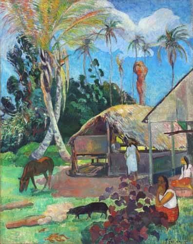 cuadros-de-paisajes - Cuadro -The Black Pigs- - Gauguin, Paul