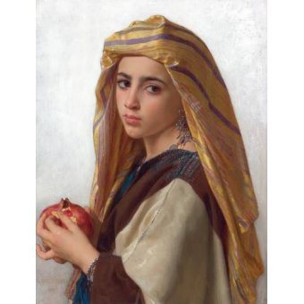 cuadros de retrato - Cuadro -Girl with a pomegranate- - Bouguereau, William
