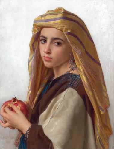 cuadros-de-retrato - Cuadro -Girl with a pomegranate- - Bouguereau, William