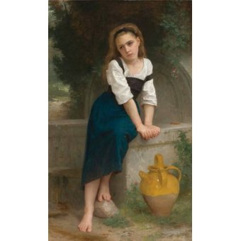 cuadros de retrato - Cuadro -Orphan by the Fountain, 1883- - Bouguereau, William