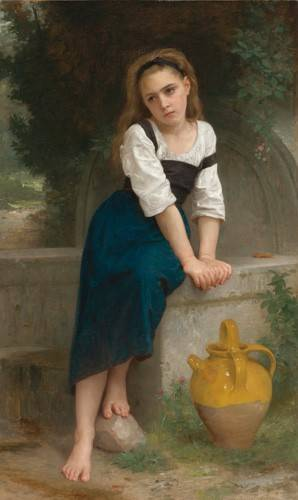 cuadros-de-retrato - Cuadro -Orphan by the Fountain, 1883- - Bouguereau, William