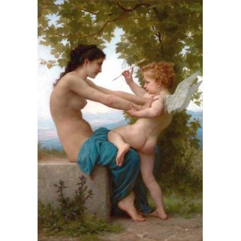 - Cuadro -A Young Girl Defending Herself against Eros, 1880- - Bouguereau, William
