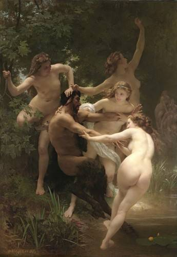 cuadros-de-desnudos - Cuadro -Nymphs and Satyr, 1873- - Bouguereau, William