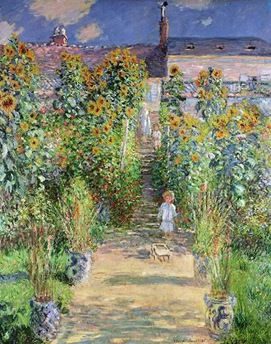 cuadros-de-paisajes - Cuadro -Jardin de Monet en Vétheuil, 1880- - Monet, Claude