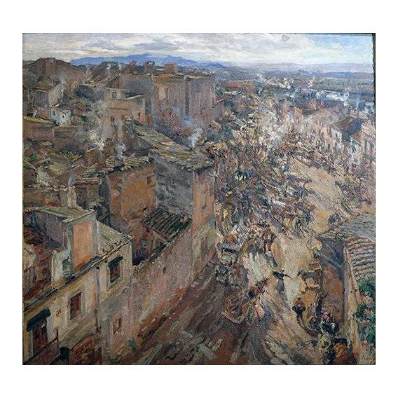 cuadros de paisajes - Cuadro -Dia de mercado en Torroella, 1918-