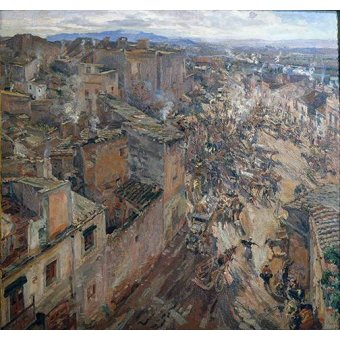 - Cuadro -Dia de mercado en Torroella, 1918- - Gimeno, Francesc