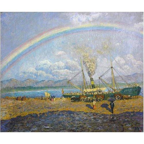 cuadros de paisajes - Cuadro -Aguacero en la bahia de Santoña-