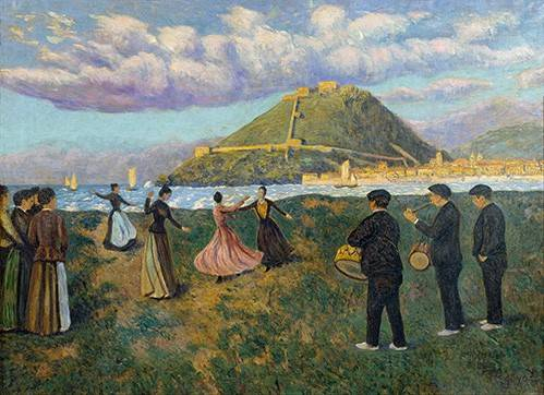 cuadros-de-paisajes - Cuadro -Baile en El Antiguo, San Sebastian- - Regoyos, Dario de