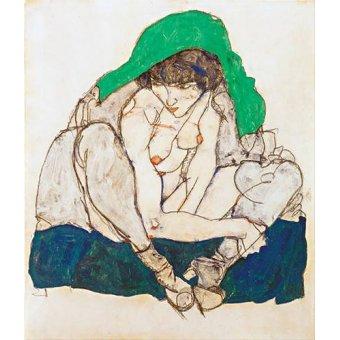 cuadros de desnudos - Cuadro -Crouching Woman with Green Headscarf, 1914- - Schiele, Egon
