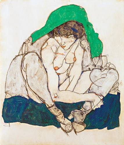 cuadros-de-retrato - Cuadro -Crouching Woman with Green Headscarf, 1914- - Schiele, Egon