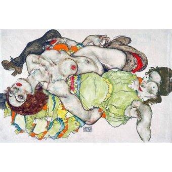 cuadros de desnudos - Cuadro -Female Lovers, 1915- - Schiele, Egon