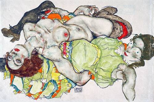 cuadros-de-retrato - Cuadro -Female Lovers, 1915- - Schiele, Egon