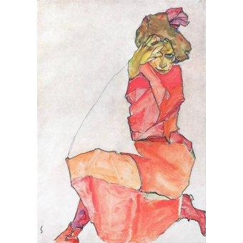 - Cuadro -Kneeling Female in Orange-Red_Dress, 1910- - Schiele, Egon