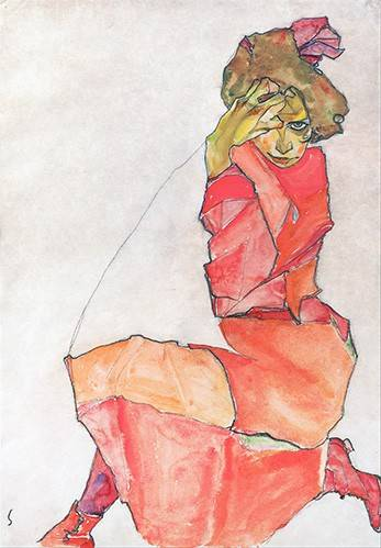 cuadros-de-retrato - Cuadro -Kneeling Female in Orange-Red_Dress, 1910- - Schiele, Egon